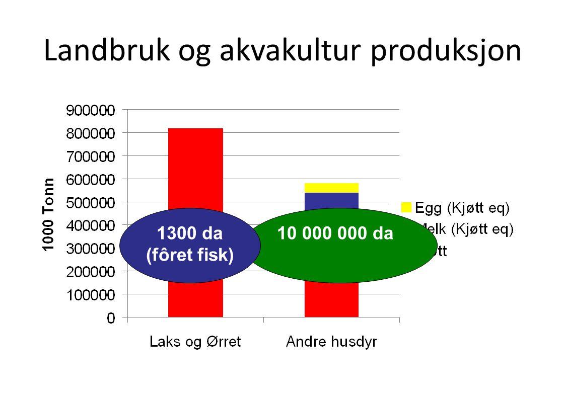 Landbruk og akvakultur produksjon 10 000 000 da1300 da (fôret fisk)