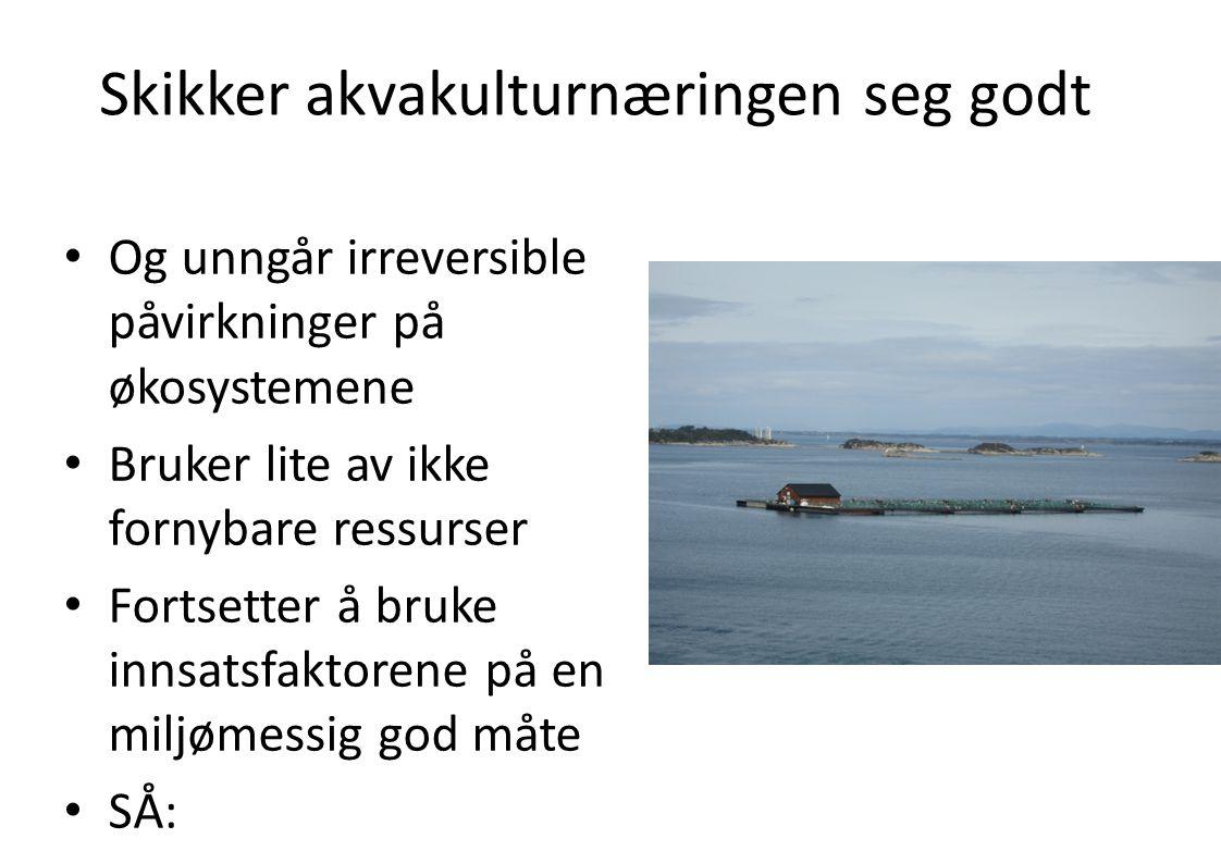 Skikker akvakulturnæringen seg godt • Og unngår irreversible påvirkninger på økosystemene • Bruker lite av ikke fornybare ressurser • Fortsetter å bru