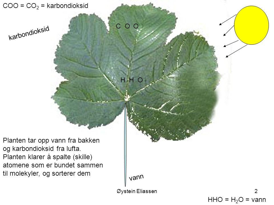 Øystein Eliassen2 COO = CO 2 = karbondioksid HHO = H 2 O = vann vann HHO karbondioksid COO Planten tar opp vann fra bakken og karbondioksid fra lufta.