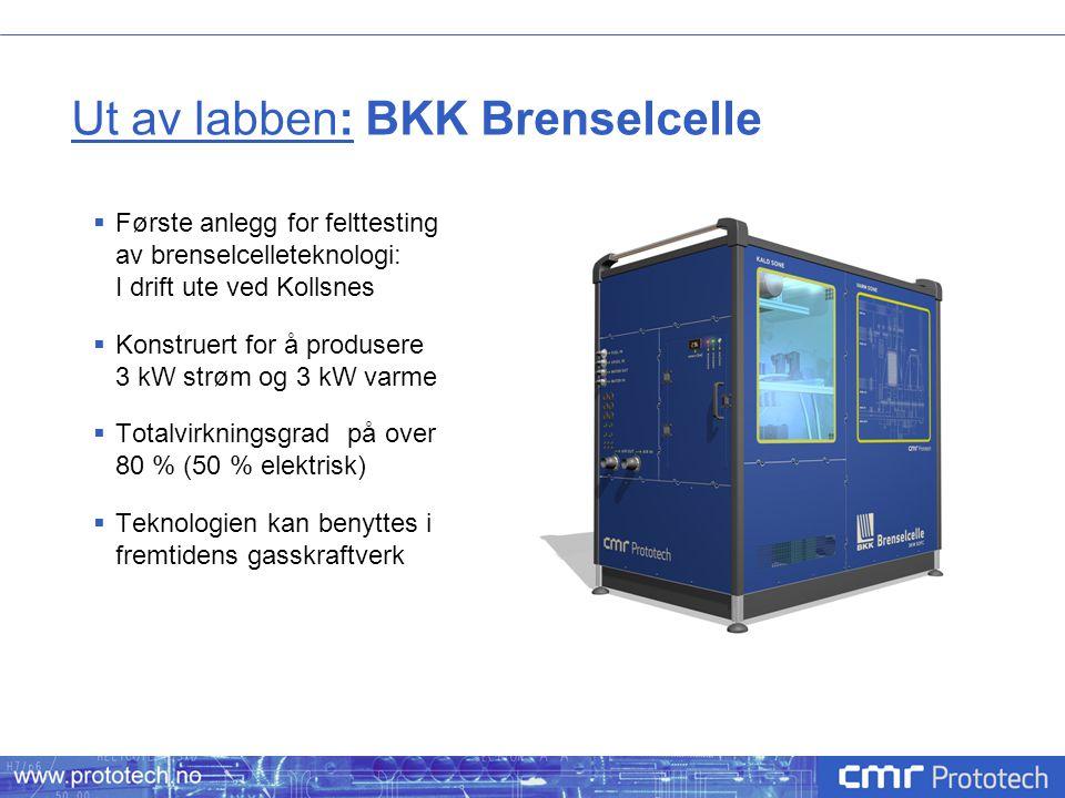 Ut av labben: BKK Brenselcelle  Første anlegg for felttesting av brenselcelleteknologi: I drift ute ved Kollsnes  Konstruert for å produsere 3 kW st
