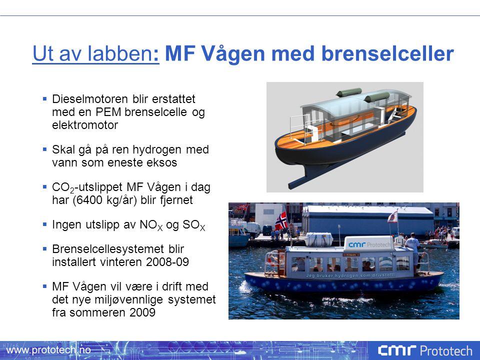 Ut av labben: MF Vågen med brenselceller  Dieselmotoren blir erstattet med en PEM brenselcelle og elektromotor  Skal gå på ren hydrogen med vann som