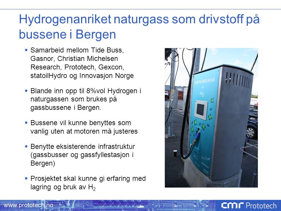 Hydrogenanriket naturgass som drivstoff på bussene i Bergen  Samarbeid mellom Tide Buss, Gasnor, Christian Michelsen Research, Prototech, Gexcon, sta