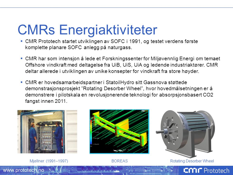 CMRs Energiaktiviteter  Brenselceller  Vind/bølge  Nye innovative løsninger  Bio  Nye integrerte prosesser med brenselceller  Kombinert el og biobrensel produksjon  H 2 produksjon  ZEG  Elektrolyse  Reformerteknologi  H 2 lagring  Metallhydrid  CO 2 fangst  ZEG  Oksygenpumpe (Oxyfuel)  Rotating Desorber Wheel