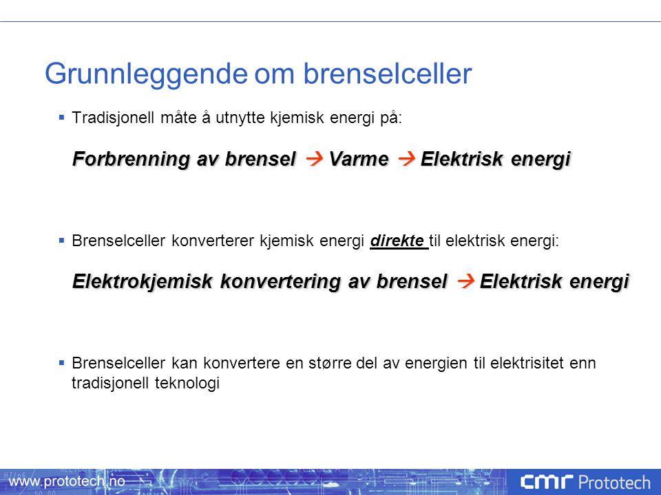 Grunnleggende om brenselceller  Tradisjonell måte å utnytte kjemisk energi på: Forbrenning av brensel  Varme  Elektrisk energi  Brenselceller konv