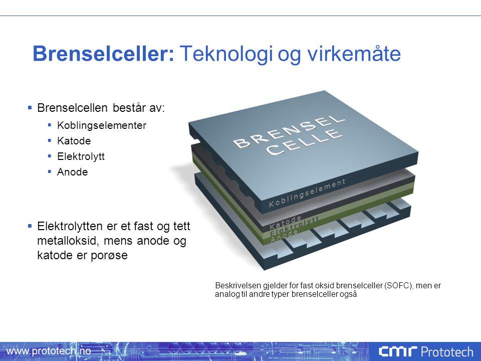 Brenselceller: Teknologi og virkemåte  Brenselcellen består av:  Koblingselementer  Katode  Elektrolytt  Anode  Elektrolytten er et fast og tett