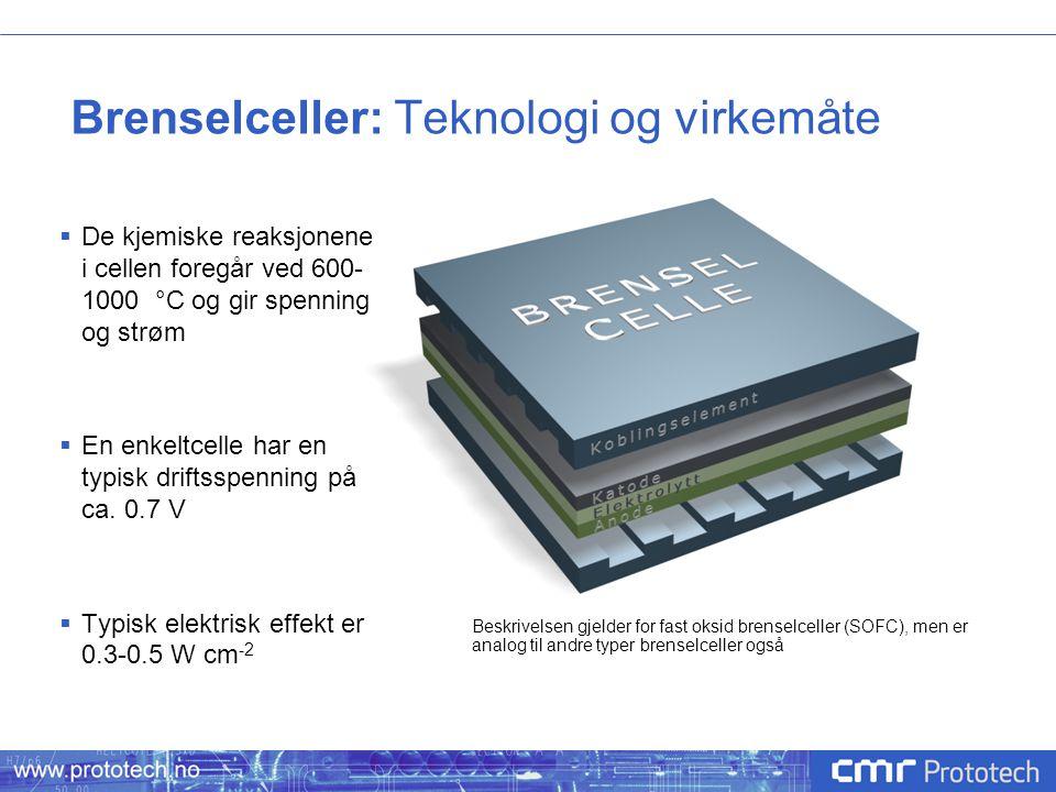 Brenselceller: Teknologi og virkemåte  De kjemiske reaksjonene i cellen foregår ved 600- 1000 °C og gir spenning og strøm  En enkeltcelle har en typ