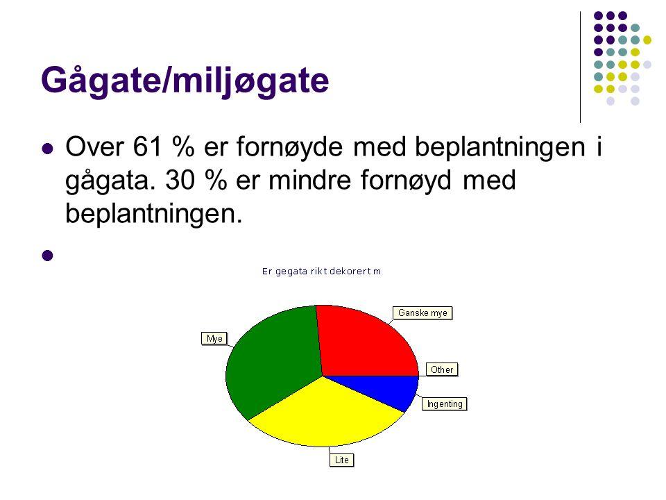 Gågate/miljøgate  Over 61 % er fornøyde med beplantningen i gågata.