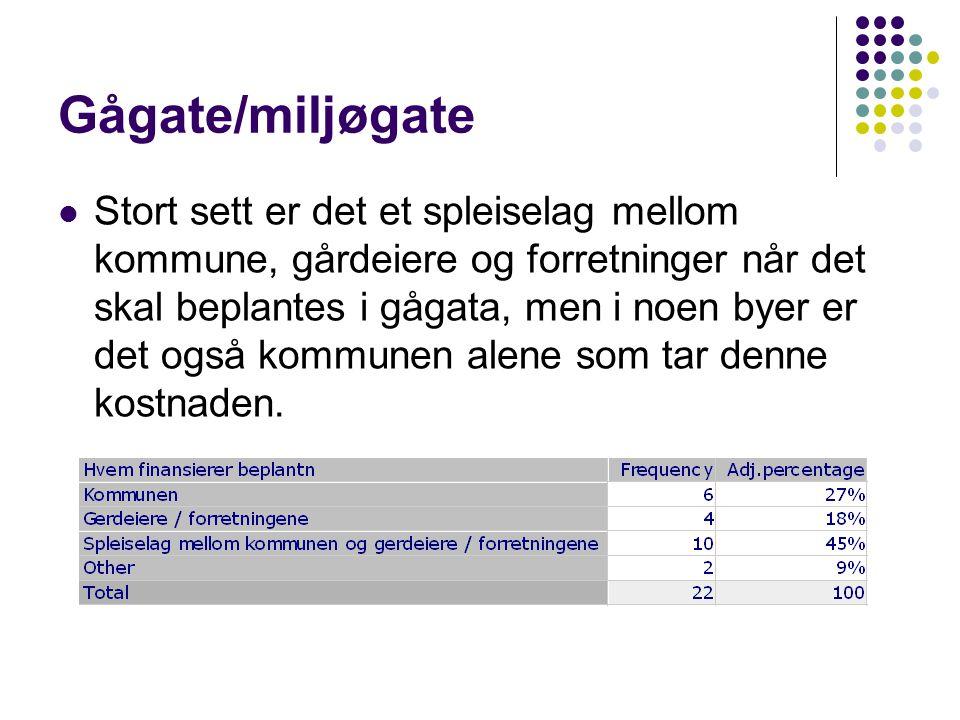 Gågate/miljøgate  Stort sett er det et spleiselag mellom kommune, gårdeiere og forretninger når det skal beplantes i gågata, men i noen byer er det også kommunen alene som tar denne kostnaden.