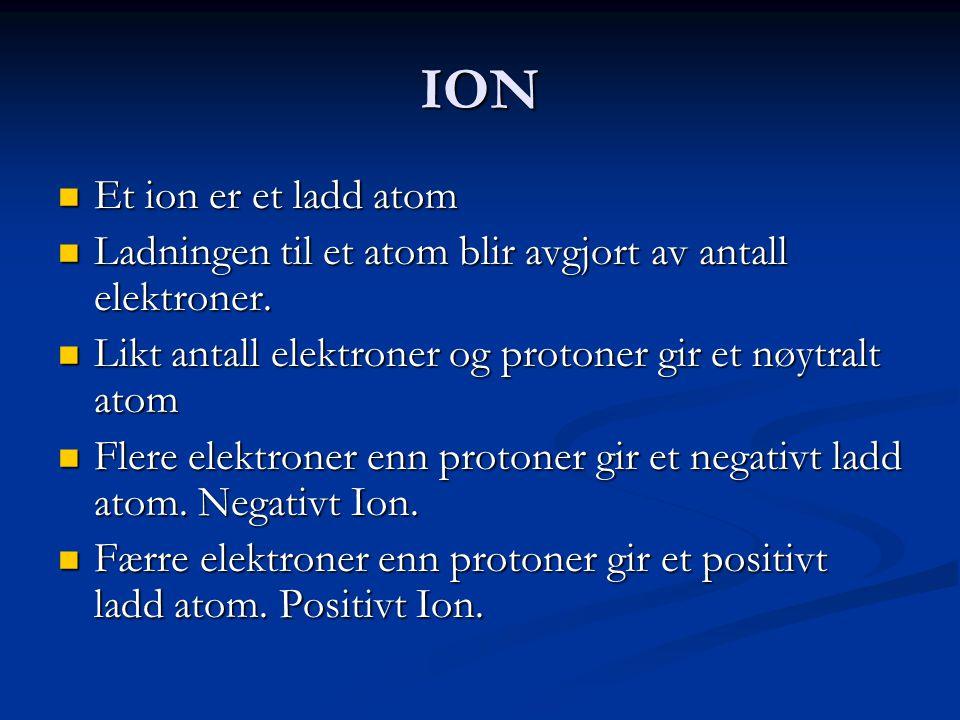 ION  Et ion er et ladd atom  Ladningen til et atom blir avgjort av antall elektroner.  Likt antall elektroner og protoner gir et nøytralt atom  Fl