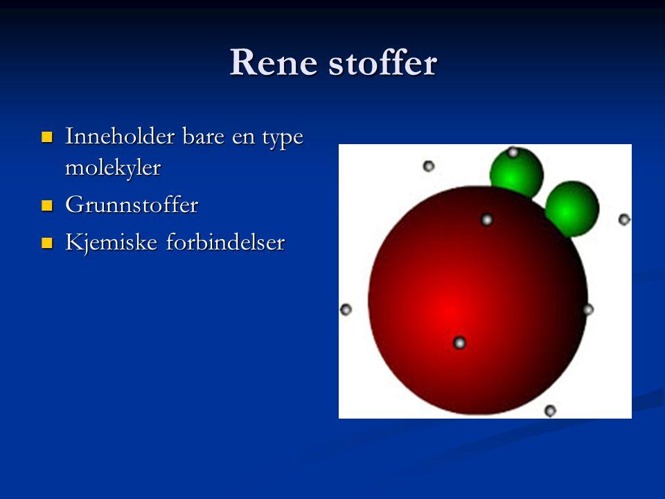 Grunnstoffer  Satt sammen av bare en type atomer  Et oksygenmolekyl er satt sammen av 2 oksygenatomer