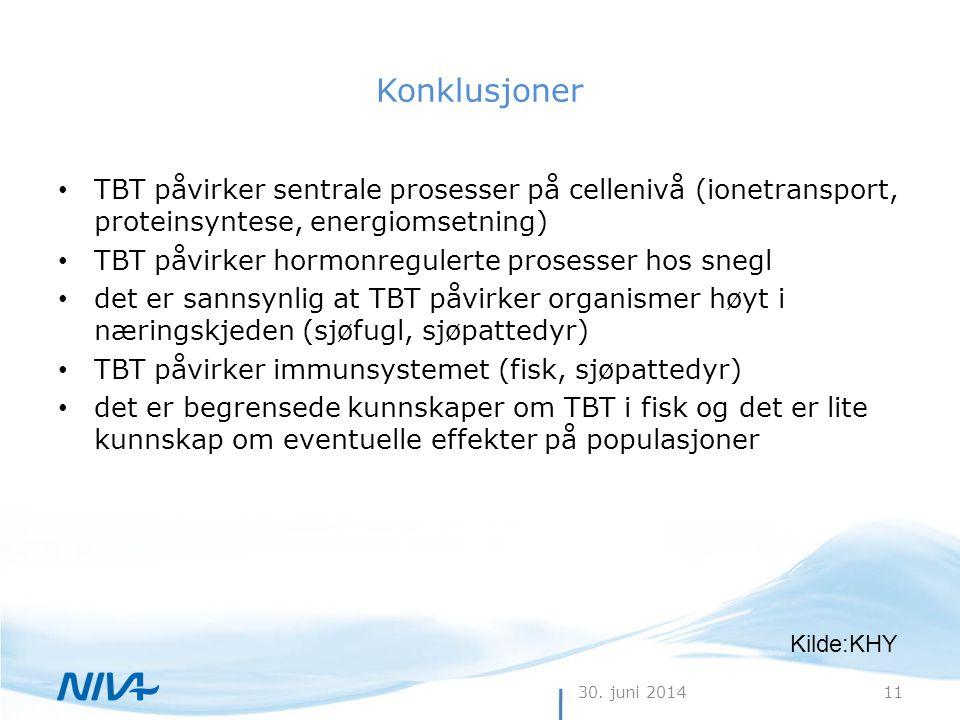 30. juni 201411 Konklusjoner • TBT påvirker sentrale prosesser på cellenivå (ionetransport, proteinsyntese, energiomsetning) • TBT påvirker hormonregu