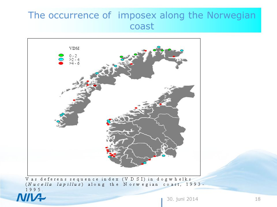 30. juni 201418 The occurrence of imposex along the Norwegian coast VDSI 0 - 2 >2 - 4 >4 - 6