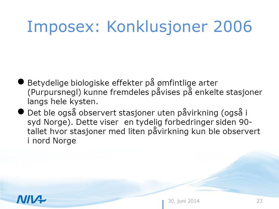 30. juni 201423 Imposex: Konklusjoner 2006  Betydelige biologiske effekter på ømfintlige arter (Purpursnegl) kunne fremdeles påvises på enkelte stasj