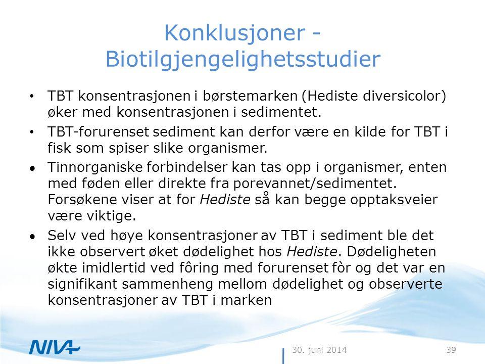 30. juni 201439 Konklusjoner - Biotilgjengelighetsstudier • TBT konsentrasjonen i børstemarken (Hediste diversicolor) øker med konsentrasjonen i sedim