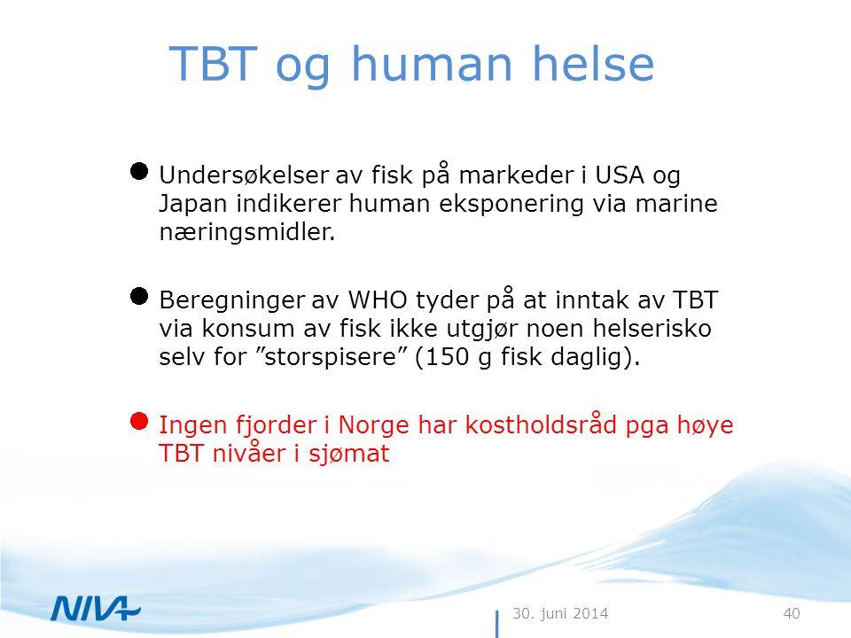 30. juni 201440 TBT og human helse  Undersøkelser av fisk på markeder i USA og Japan indikerer human eksponering via marine næringsmidler.  Beregnin