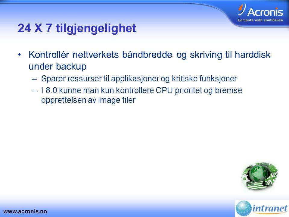 www.acronis.no 24 X 7 tilgjengelighet •Kontrollér nettverkets båndbredde og skriving til harddisk under backup –Sparer ressurser til applikasjoner og