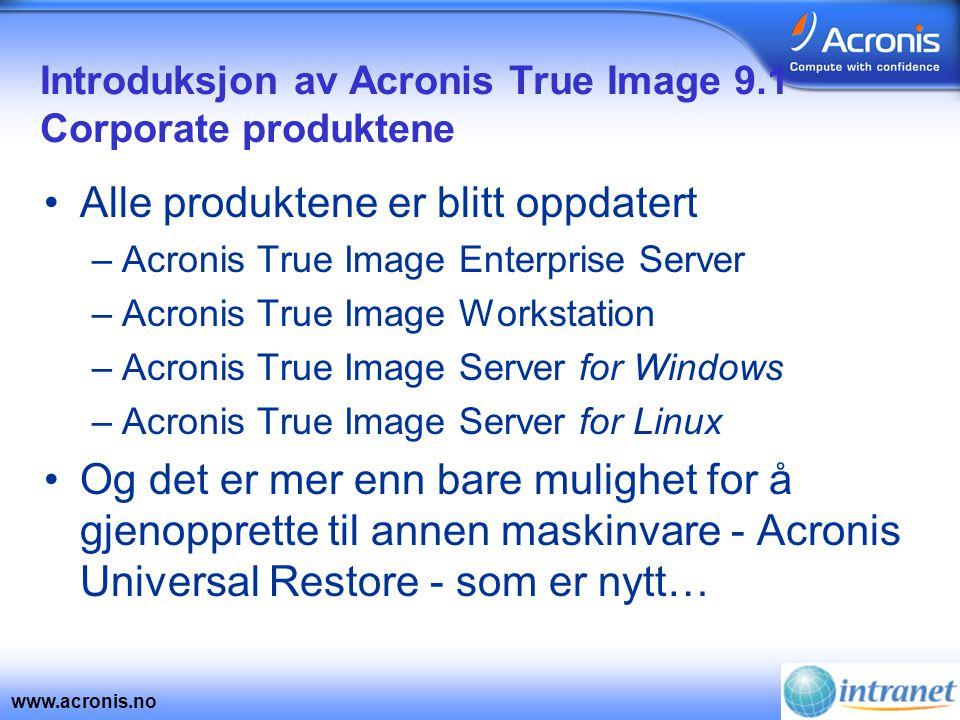 www.acronis.no 24 X 7 tilgjengelighet •Kontrollér nettverkets båndbredde og skriving til harddisk under backup –Sparer ressurser til applikasjoner og kritiske funksjoner –I 8.0 kunne man kun kontrollere CPU prioritet og bremse opprettelsen av image filer
