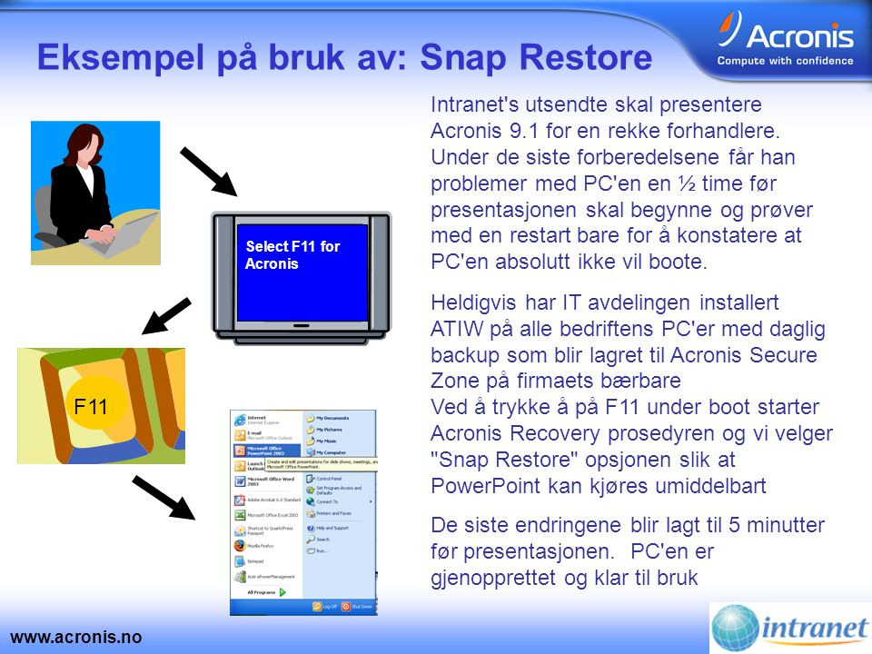www.acronis.no Eksempel: Enklere administrasjon med Acronis Remote Bootable Agent IT avdelingen på hovedkontoret i Oslo er blitt varslet om at en server i Bergen har gått ned Med ATI v8.0 måtte man ta en lokal gjenoppretting Med v9.1 er det mulig å gjenopprette via fjerndrift vha.