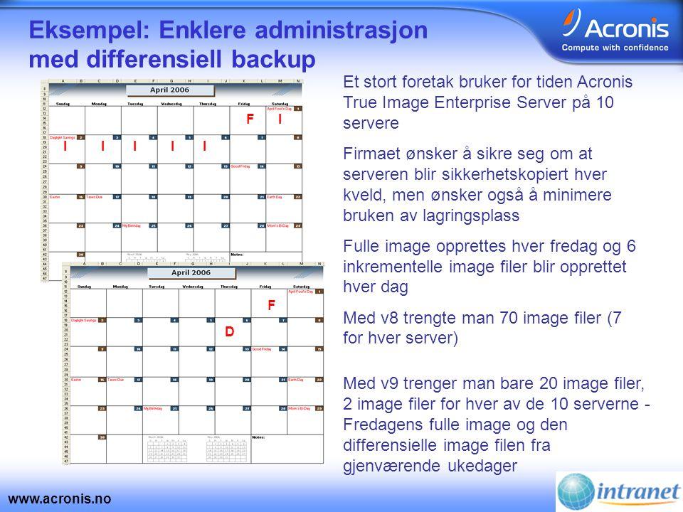www.acronis.no Eksempel: Enklere administrasjon med differensiell backup F IIII I X Med v9 trenger man bare 20 image filer, 2 image filer for hver av