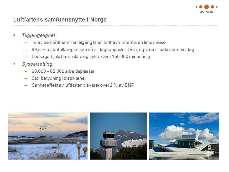 Luftfartens samfunnsnytte i Norge  Tilgjengelighet: –To av tre nordmenn har tilgang til en lufthavn innenfor en times reise –99,5 % av befolkningen k