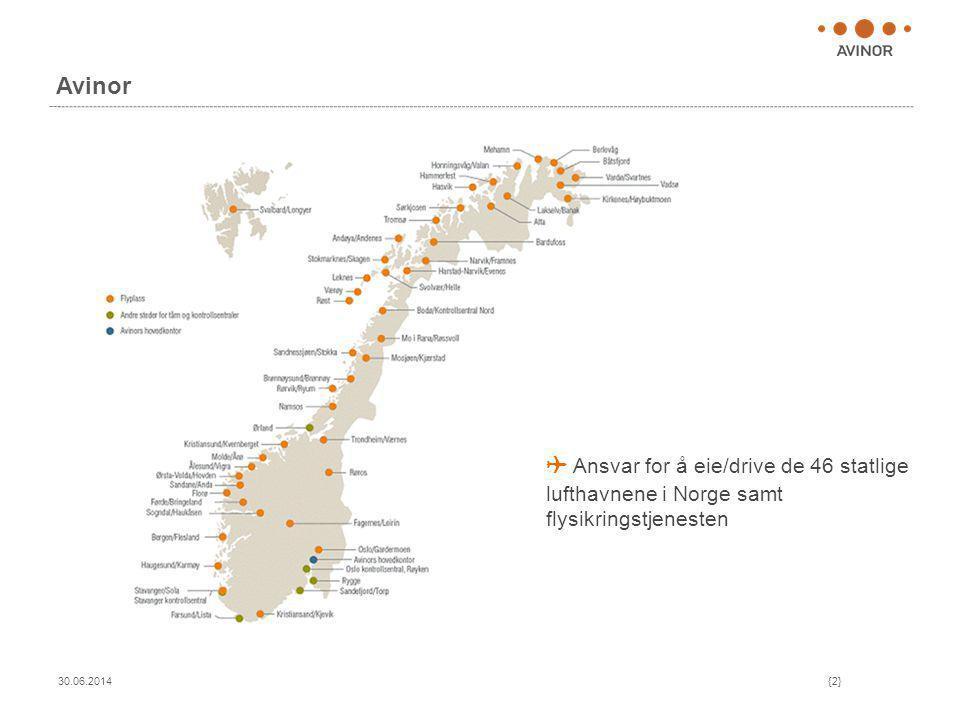 Avinor 30.06.2014{2} ✈ Ansvar for å eie/drive de 46 statlige lufthavnene i Norge samt flysikringstjenesten