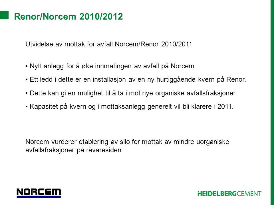Renor/Norcem 2010/2012 Utvidelse av mottak for avfall Norcem/Renor 2010/2011 • Nytt anlegg for å øke innmatingen av avfall på Norcem • Ett ledd i dett