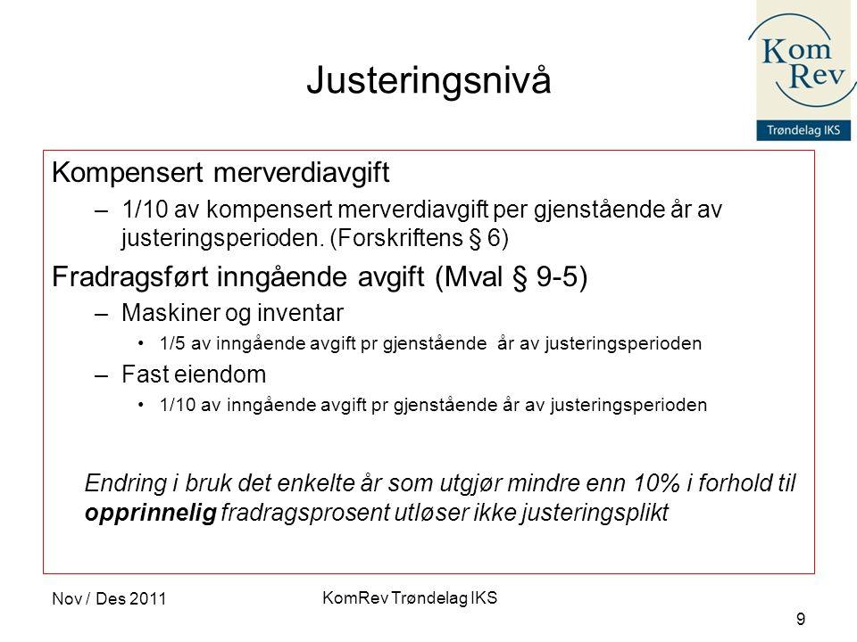 KomRev Trøndelag IKS Nov / Des 2011 9 Justeringsnivå Kompensert merverdiavgift –1/10 av kompensert merverdiavgift per gjenstående år av justeringsperi