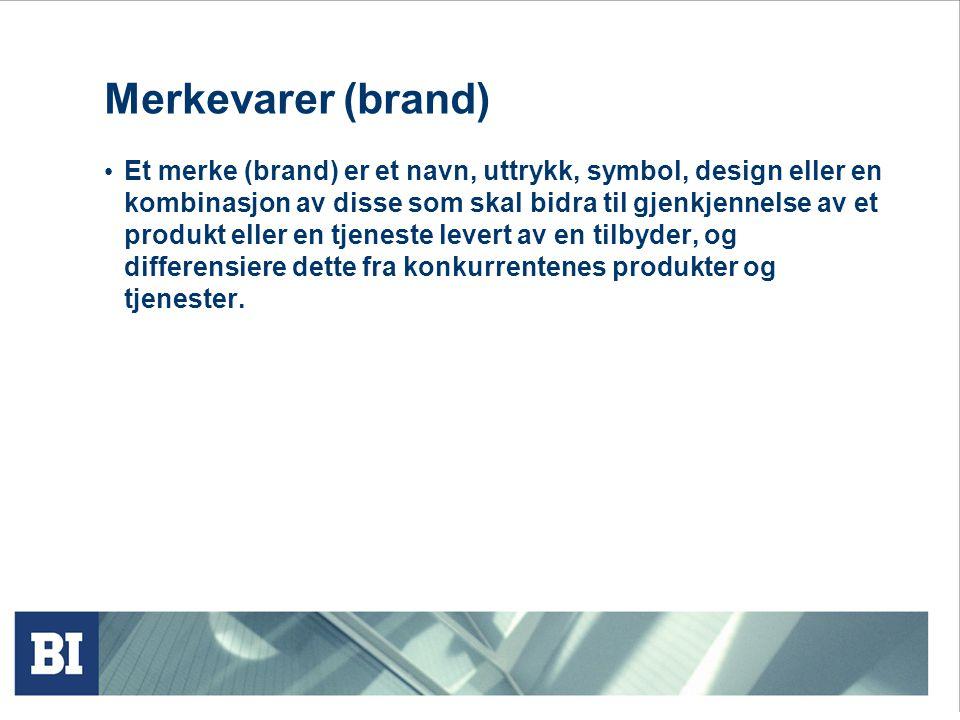 Merkevarer (brand) • Et merke (brand) er et navn, uttrykk, symbol, design eller en kombinasjon av disse som skal bidra til gjenkjennelse av et produkt eller en tjeneste levert av en tilbyder, og differensiere dette fra konkurrentenes produkter og tjenester.