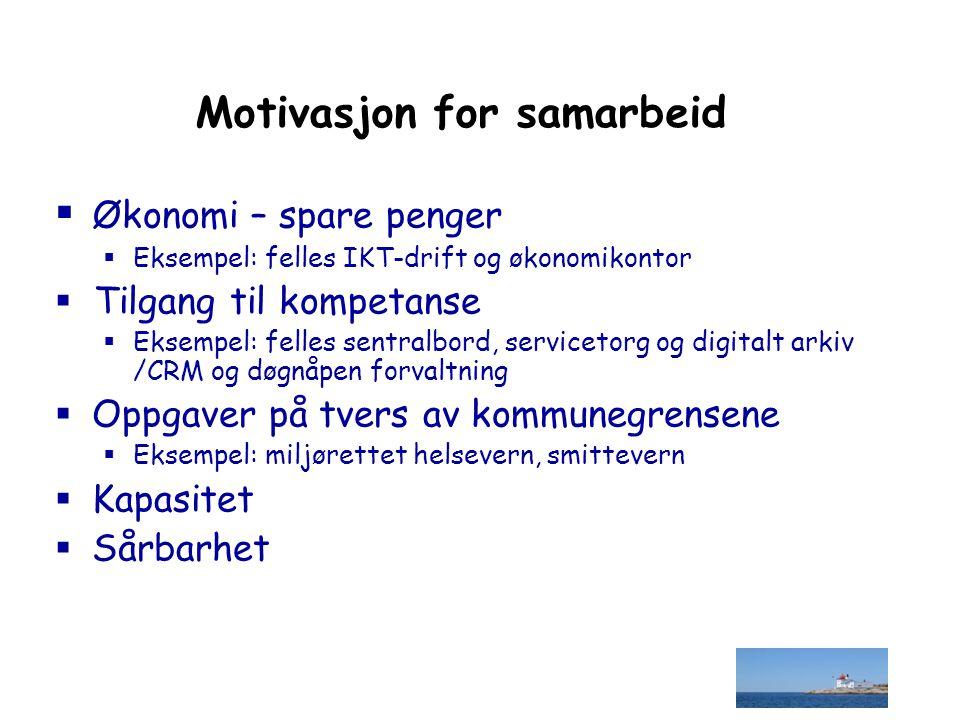 Motivasjon for samarbeid  Økonomi – spare penger  Eksempel: felles IKT-drift og økonomikontor  Tilgang til kompetanse  Eksempel: felles sentralbor