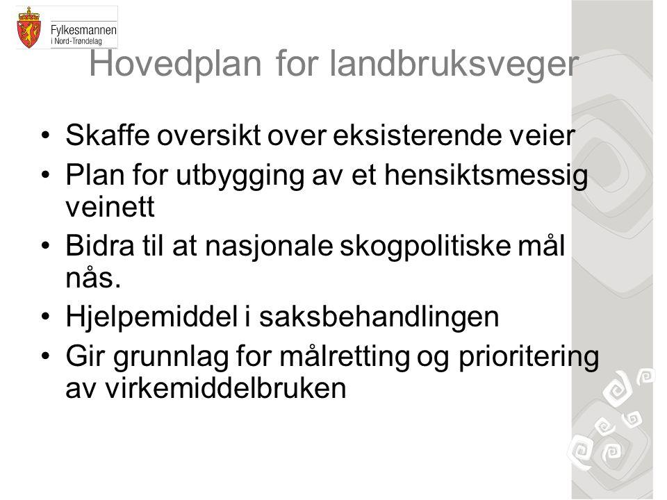 Hovedplan for landbruksveger •Skaffe oversikt over eksisterende veier •Plan for utbygging av et hensiktsmessig veinett •Bidra til at nasjonale skogpol