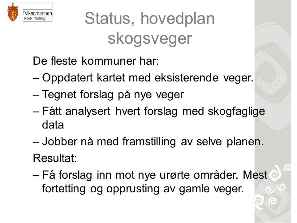 Status, hovedplan skogsveger De fleste kommuner har: –Oppdatert kartet med eksisterende veger. –Tegnet forslag på nye veger –Fått analysert hvert fors