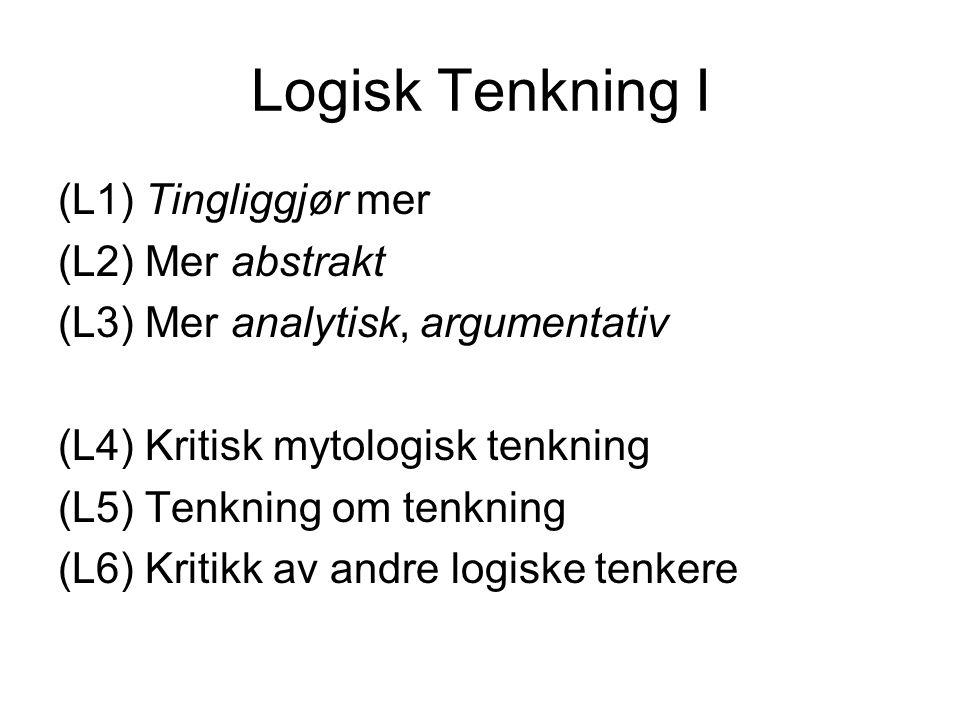 Logisk Tenkning I (L1) Tingliggjør mer (L2) Mer abstrakt (L3) Mer analytisk, argumentativ (L4) Kritisk mytologisk tenkning (L5) Tenkning om tenkning (L6) Kritikk av andre logiske tenkere