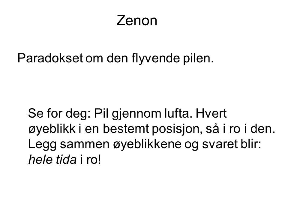 Zenon Paradokset om den flyvende pilen.Se for deg: Pil gjennom lufta.