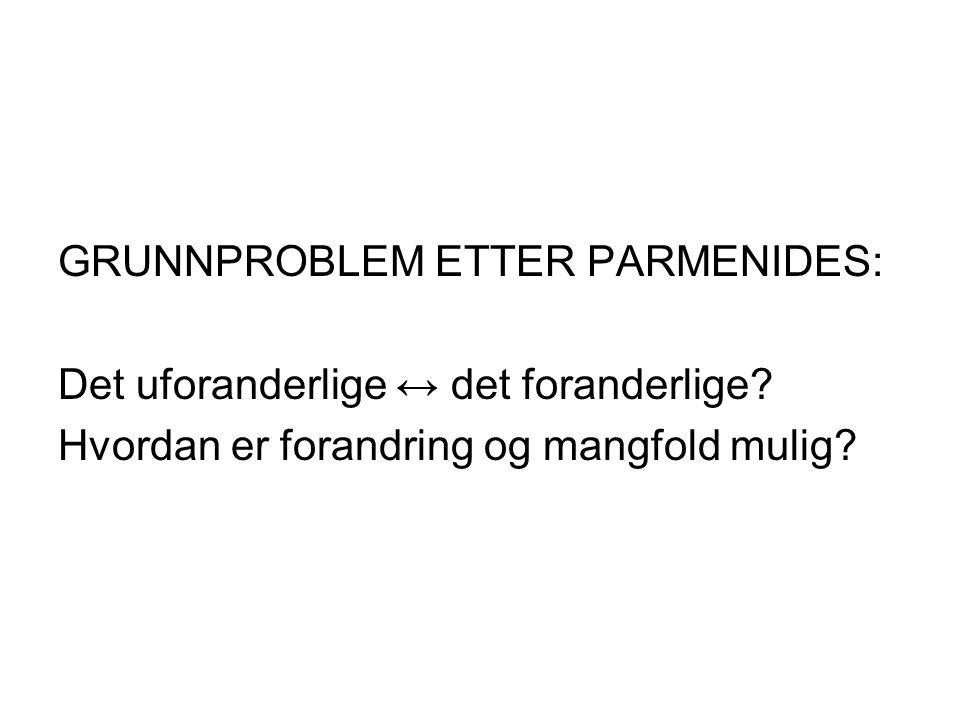 GRUNNPROBLEM ETTER PARMENIDES: Det uforanderlige ↔ det foranderlige.