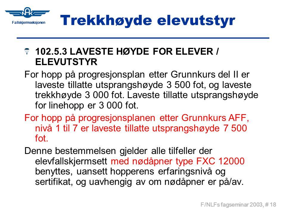 Fallskjermseksjonen F/NLFs fagseminar 2003, # 18 Trekkhøyde elevutstyr 102.5.3 LAVESTE HØYDE FOR ELEVER / ELEVUTSTYR For hopp på progresjonsplan etter
