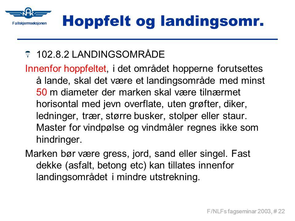 Fallskjermseksjonen F/NLFs fagseminar 2003, # 22 Hoppfelt og landingsomr. 102.8.2 LANDINGSOMRÅDE Innenfor hoppfeltet, i det området hopperne forutsett