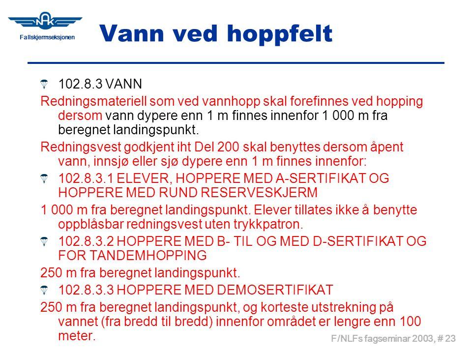 Fallskjermseksjonen F/NLFs fagseminar 2003, # 23 Vann ved hoppfelt 102.8.3 VANN Redningsmateriell som ved vannhopp skal forefinnes ved hopping dersom