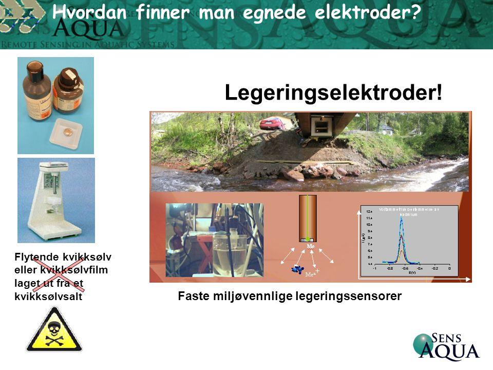 Legeringselektroder! Flytende kvikksølv eller kvikksølvfilm laget ut fra et kvikksølvsalt Faste miljøvennlige legeringssensorer Hvordan finner man egn