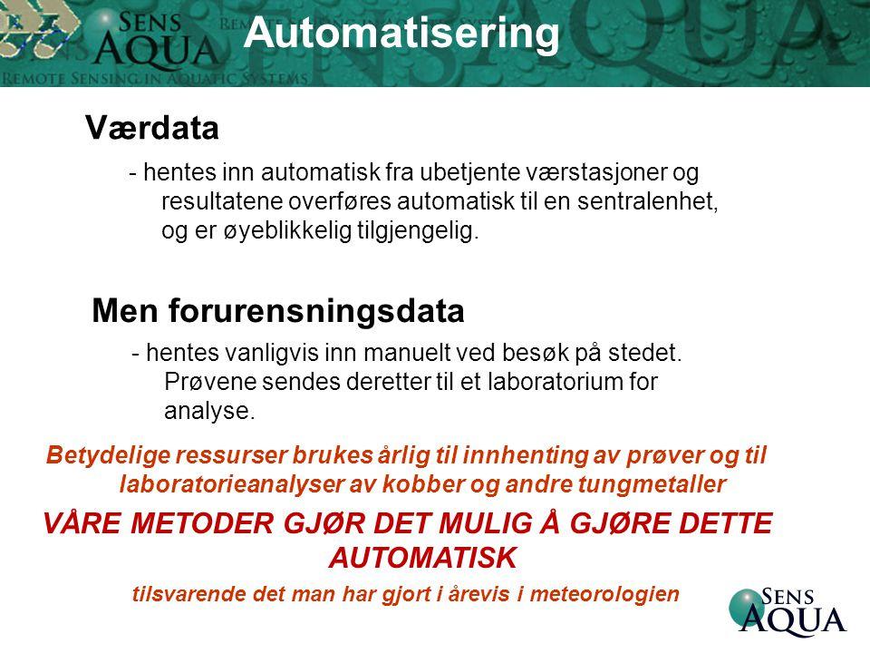 Værdata - hentes inn automatisk fra ubetjente værstasjoner og resultatene overføres automatisk til en sentralenhet, og er øyeblikkelig tilgjengelig. M