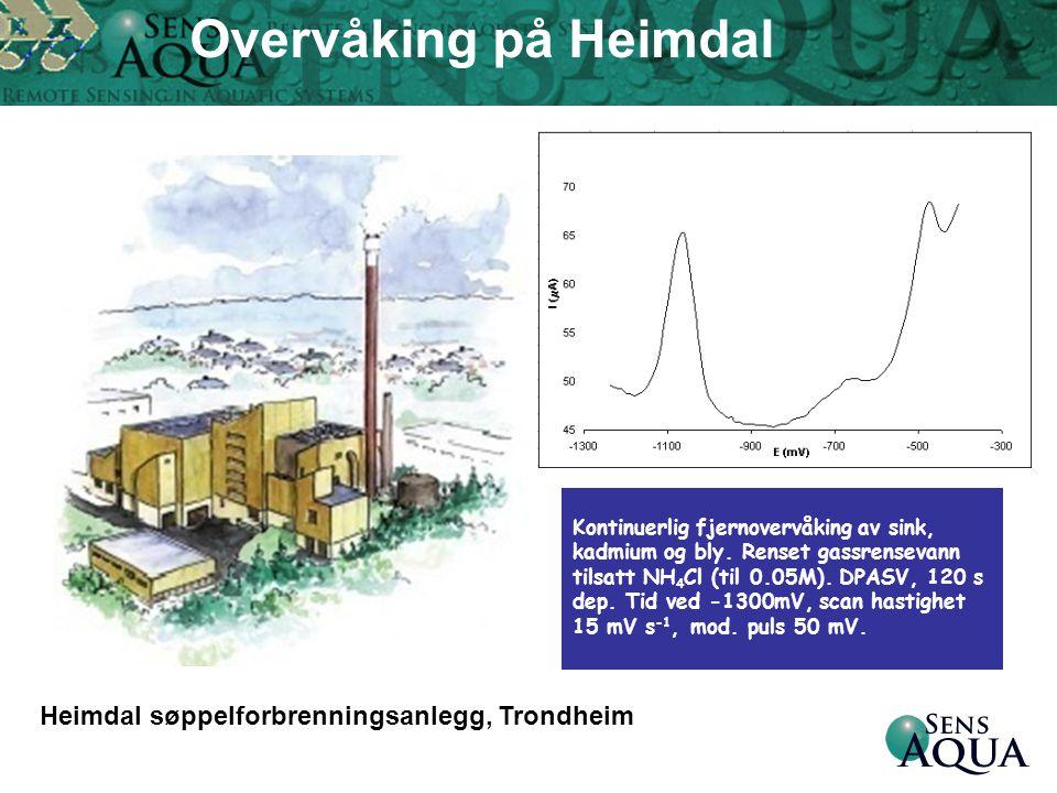 Heimdal søppelforbrenningsanlegg, Trondheim Kontinuerlig fjernovervåking av sink, kadmium og bly. Renset gassrensevann tilsatt NH 4 Cl (til 0.05M). DP