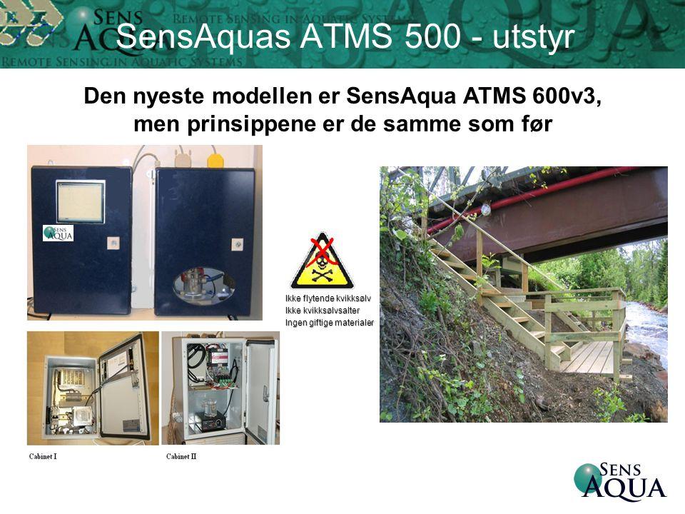 Ikke flytende kvikksølv Ikke kvikksølvsalter Ingen giftige materialer X SensAquas ATMS 500 - utstyr Den nyeste modellen er SensAqua ATMS 600v3, men pr