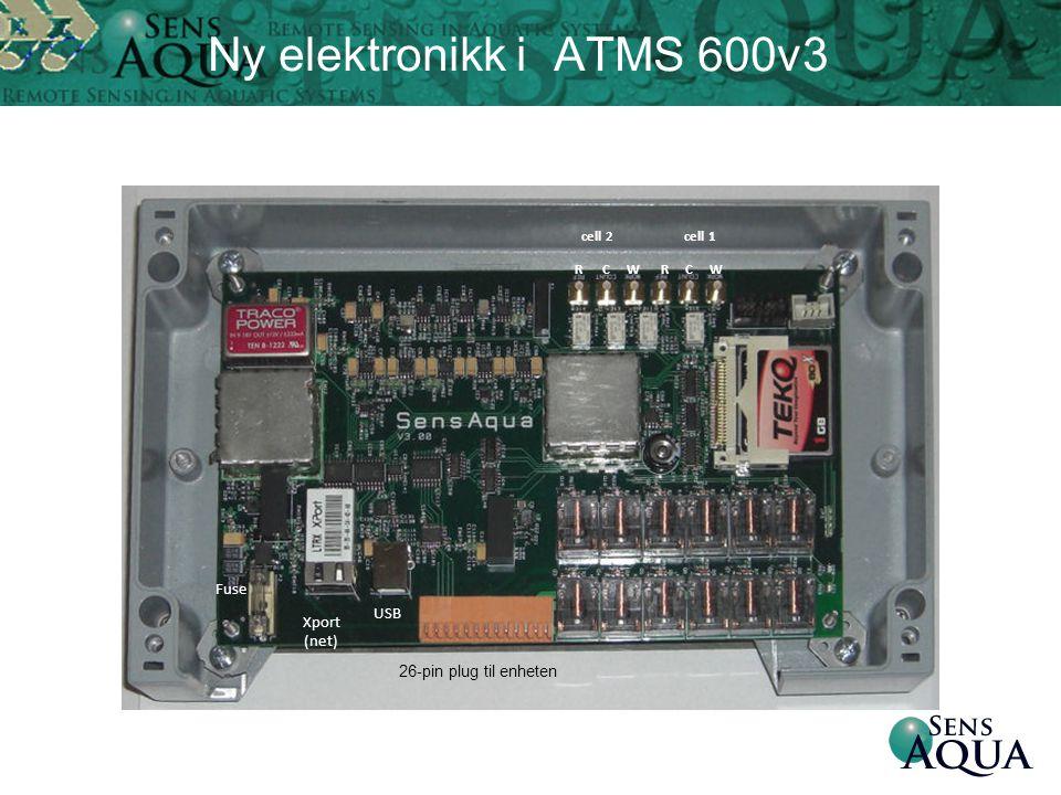 Ny elektronikk i ATMS 600v3 cell 2 cell 1 R C W Fuse USB 26-pin plug til enheten Xport (net)