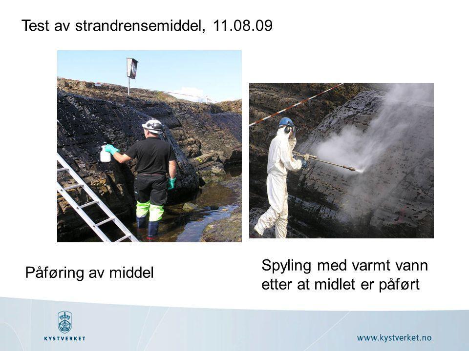 Påføring av middel Spyling med varmt vann etter at midlet er påført Test av strandrensemiddel, 11.08.09