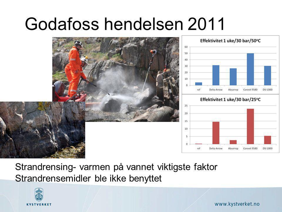 Godafoss hendelsen 2011 Strandrensing- varmen på vannet viktigste faktor Strandrensemidler ble ikke benyttet