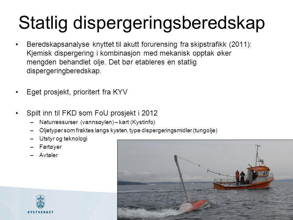 Statlig dispergeringsberedskap •Beredskapsanalyse knyttet til akutt forurensing fra skipstrafikk (2011): Kjemisk dispergering i kombinasjon med mekani