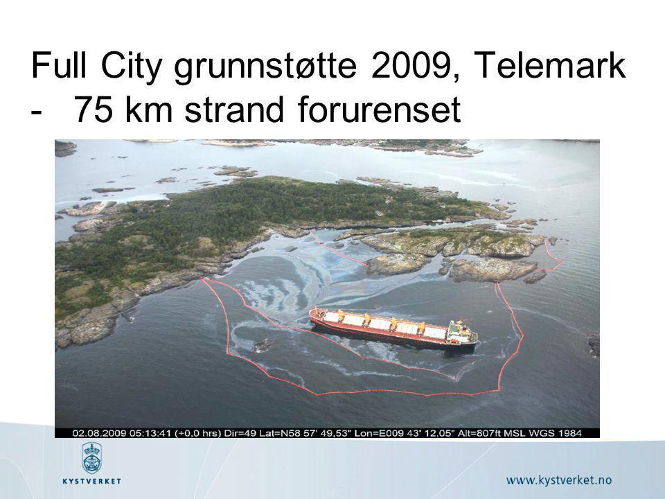 Full City grunnstøtte 2009, Telemark - 75 km strand forurenset