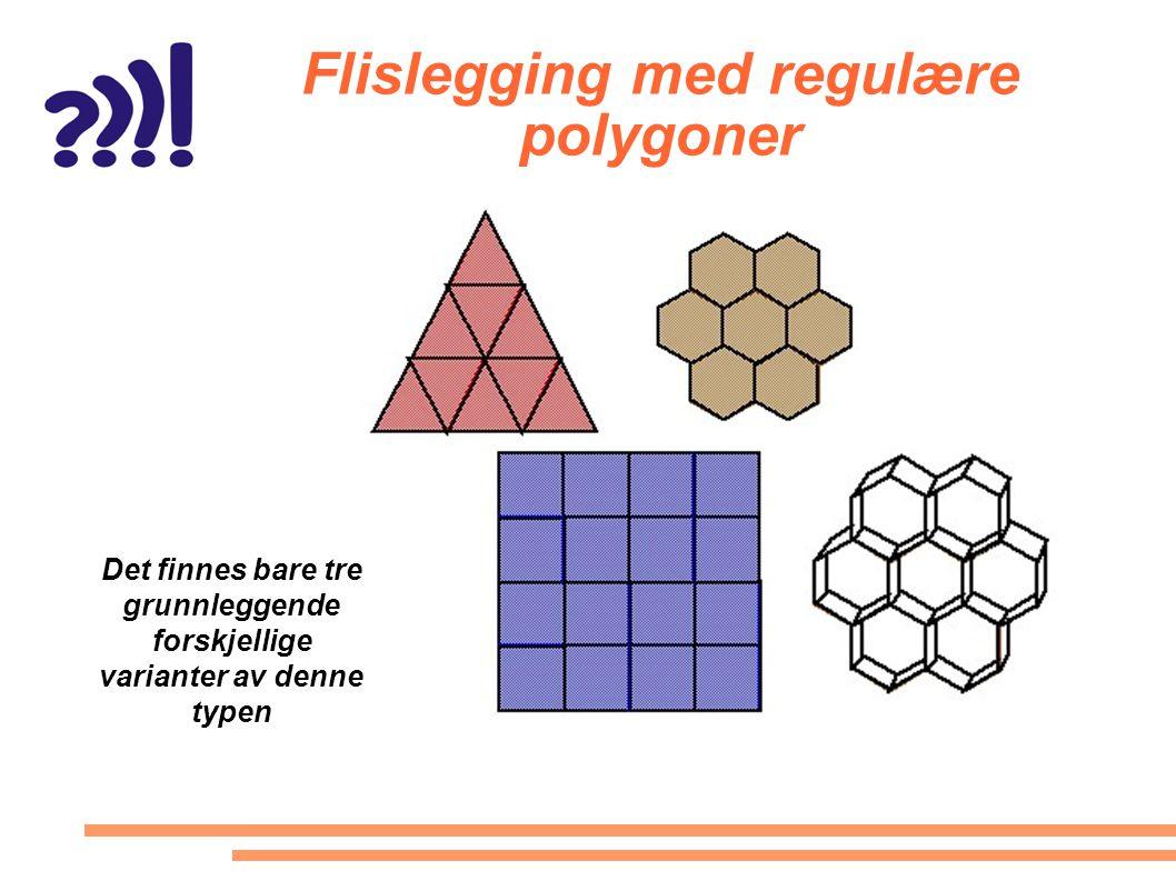 Flislegging med regulære polygoner Det finnes bare tre grunnleggende forskjellige varianter av denne typen
