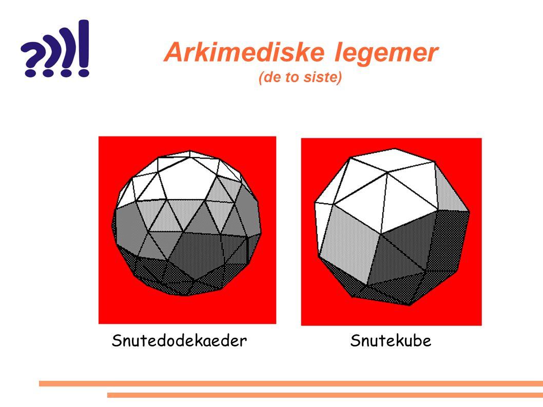 Arkimediske legemer (de to siste) SnutedodekaederSnutekube