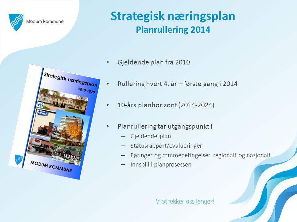 Strategisk næringsplan Planrullering 2014 • Gjeldende plan fra 2010 • Rullering hvert 4.
