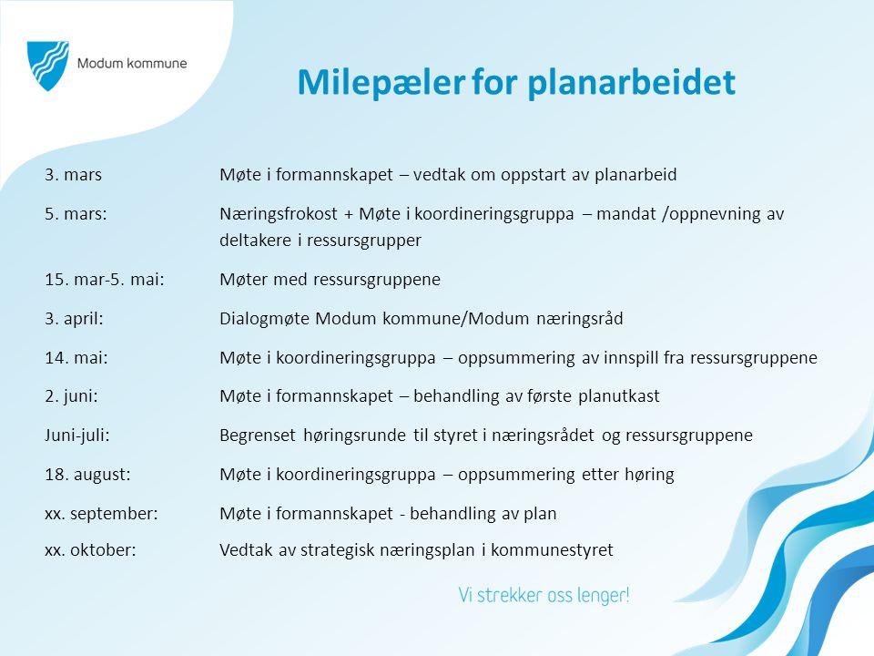 Milepæler for planarbeidet 3.marsMøte i formannskapet – vedtak om oppstart av planarbeid 5.